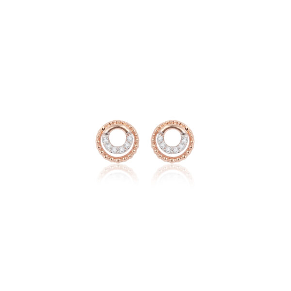 Gold Beaded Double-Up Studs