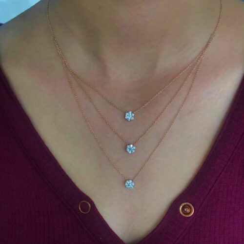 Triple Layer Halo Charm Necklace